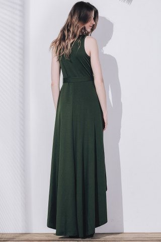 Graceful Plunge Neck Sleeveless Pleated Asymmetric Maxi Dress For Women от Rosegal.com INT
