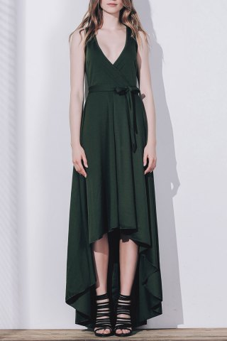 Best Plunge High Low Maxi Formal Prom Dress BLACKISH GREEN S
