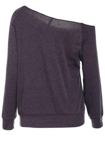 Store Casual Style Scoop Neck Long Sleeve Printed Women's T-Shirt - S DEEP GRAY Mobile