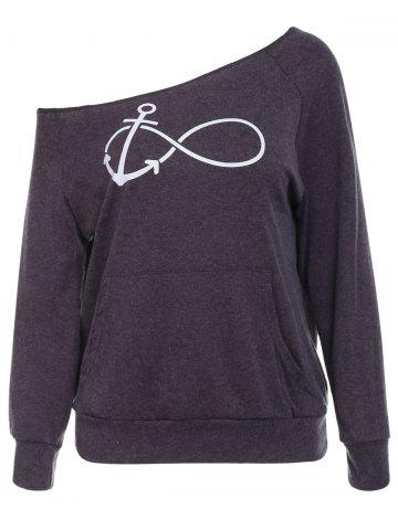 Store Casual Style Scoop Neck Long Sleeve Printed Women's T-Shirt - M DEEP GRAY Mobile