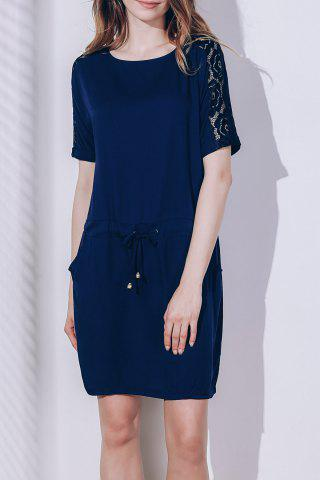 Outfit Chic Round Neck Short Sleeve Lace Design Women's Dress