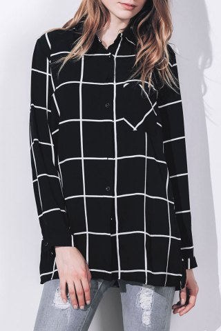 Best Stylish Shirt Collar Long Sleeve Loose-Fitting Plaid Blouse For Women BLACK S