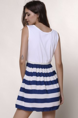 Outfit Sleeveless Striped Casual Dress - L WHITE Mobile