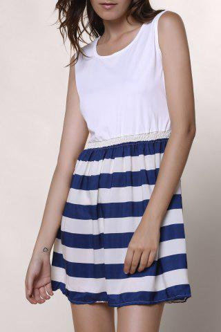 Fancy Fashionable Scoop Neck Sleeveless Spliced Striped Women's Dress WHITE L