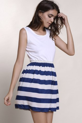Cheap Sleeveless Striped Casual Dress - L WHITE Mobile