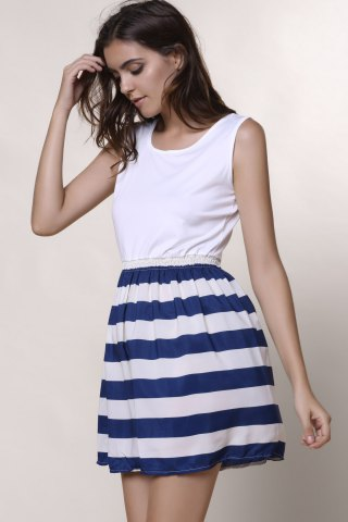 Store Sleeveless Striped Casual Dress - L WHITE Mobile