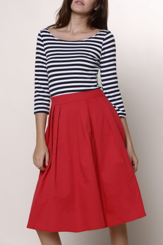Cheap Graceful Round Neck 3/4 Sleeve Striped A-Line Women's Dress RED M