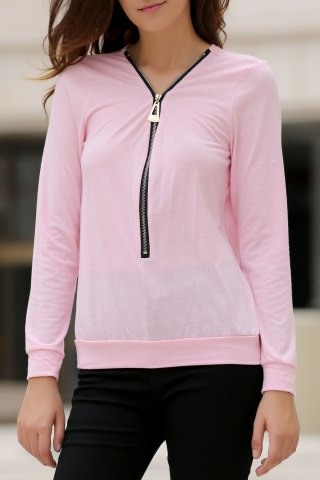 Shop Fashionable Solid Color Alloy Zippered Long Sleeve Sweatshirt For Women PINK S