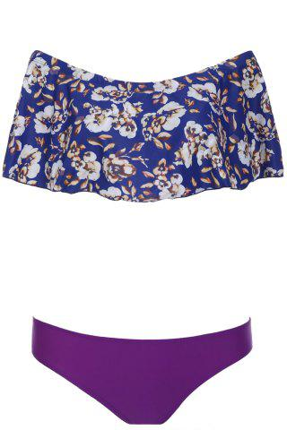 Chic Elegant Off-The-Shoulder Floral Flounced Women's Bikini Set - L PURPLE Mobile