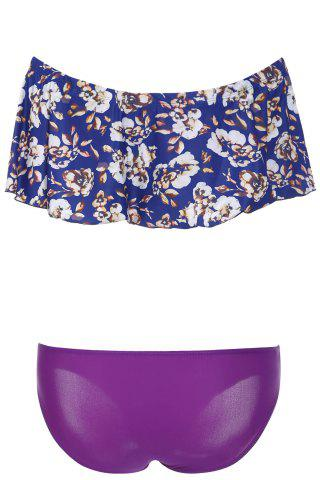 Discount Elegant Off-The-Shoulder Floral Flounced Women's Bikini Set - L PURPLE Mobile