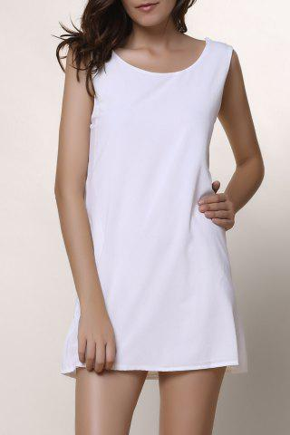 Affordable Scoop Neck Sleeveless Backless Chiffon Dress