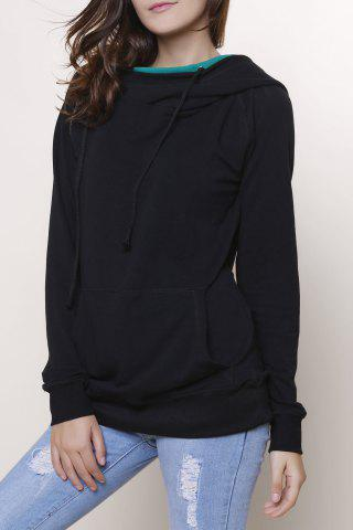 Chic Casual Double-Face Hooded Skew Zippered Long Sleeve Pullover Hoodie For Women GREEN S