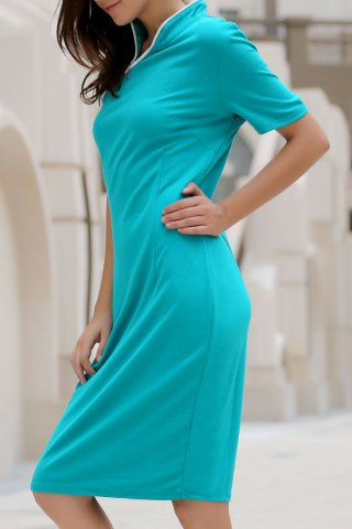 Vintage Stand Collar Skew Zippered Bodycon Midi Dress For Women - GREEN L