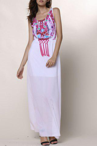 Online Ethnic Style Round Collar Sleeveless Printed Women's Dress WHITE S