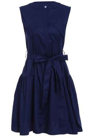 Store Women's Stylish Sleeveless Pure Color Belted Dress