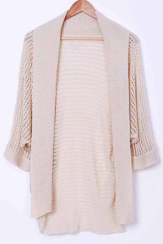 Chic Stylish Collarless Long Sleeve Hollow Out Knitted Cover-Up For Women