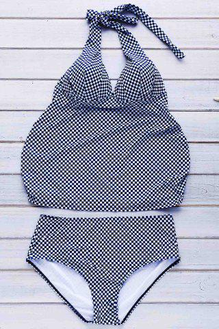Fancy Women's Sexy Plaid Plus Size Two Piece Swimwear