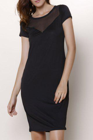 Trendy Chic Women's Short Sleeve Voile See-Through Dress BLACK M