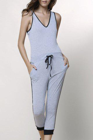 Outfit Active V-Neck Sleeveless Drawstring Jumpsuit