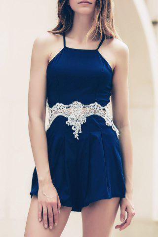Trendy Lace Insert Strappy Zippered Romper CADETBLUE S