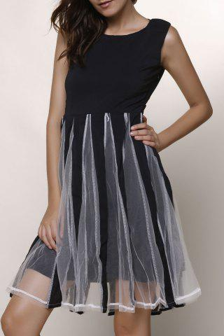 Stylish Jewel Neck Sleeveless Mesh Splicing Color Block Dress Women