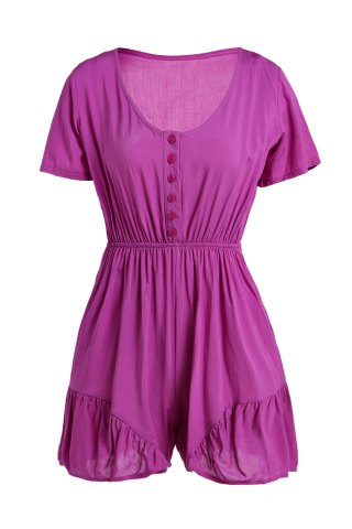 Discount V-Neck Short Sleeve Linen Romper LIGHT PURPLE S