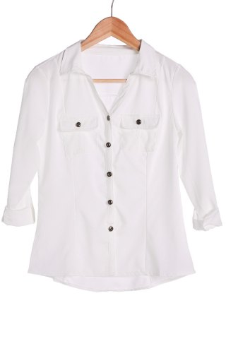 Shop Stylish Turn-Down Collar White Single-Breasted Long Sleeve Blouse For Women WHITE S