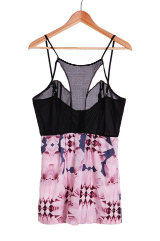 Sexy Strappy Hollow Out Floral Print Romper For Women - Black - L