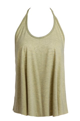 Chic Sexy Spaghetti Strap Solid Color Open Back Women's Tank Top OLIVE GREEN S