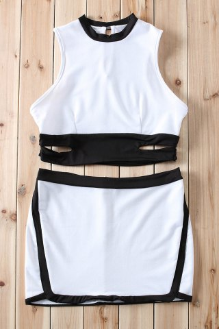 New Cut Out Short Bandage Two Piece Dress WHITE L