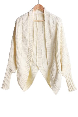 Store Stylish Collarless Dolman Sleeve Cable-Knit Cardigan For Women