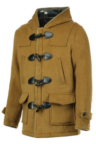 Trendy PU Leather Spliced Stereo Pocket Horn Button Hooded Long Sleeves Men's Cashmere Blend Coat - M KHAKI Mobile
