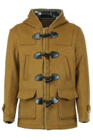 Fancy PU Leather Spliced Stereo Pocket Horn Button Hooded Long Sleeves Men's Cashmere Blend Coat - M KHAKI Mobile