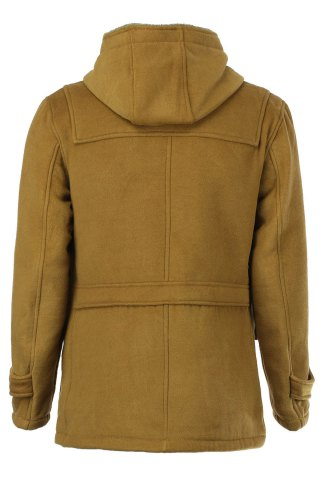 Buy PU Leather Spliced Stereo Pocket Horn Button Hooded Long Sleeves Men's Cashmere Blend Coat - M KHAKI Mobile