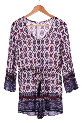 Ethnic Plunging Neck Tribe Print Long Sleeve Romper For Women - COLORMIX S