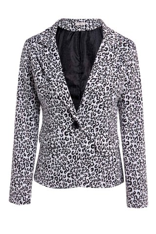 Elegant Lapel Neck Long Sleeve Leopard Print Jacket Blazer For Women - Black - L