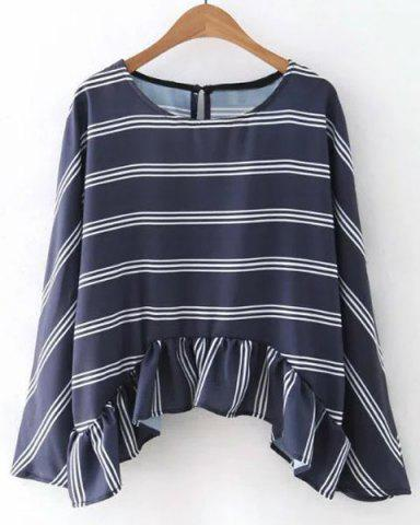Cheap Chic Jewel Neck Long Sleeves Striped Asymmetric Top For Women CADETBLUE M