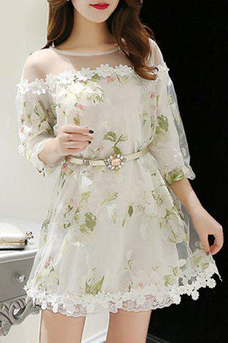 Hot Elegant Jewel Neck 3/4 Sleeve Floral Print Belted Organza Dress For Women