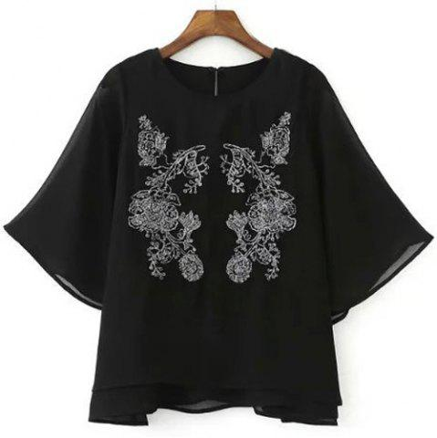 Shop Chic Round Collar Half Sleeve Flower Embroidered Women's Blouse