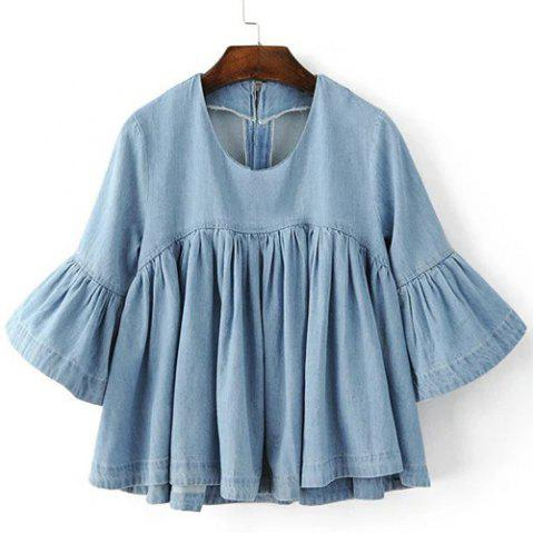 Trendy Chic Round Neck Flare Sleeve Flounced Denim Women's Blouse
