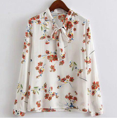Outfits Chic Stand Collar Long Sleeve Floral Print Women's Shirt