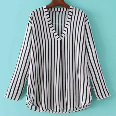 Sale Vertical Striped V Neck Shirt WHITE/BLACK M