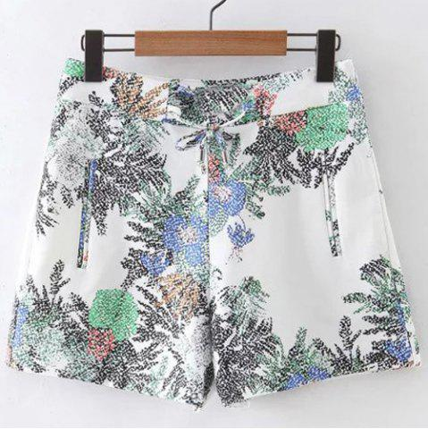 Chic Lace Up Floral High Waist Shorts
