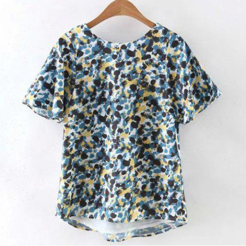 Store Graphic Tie Back High-Low Hem T-Shirt