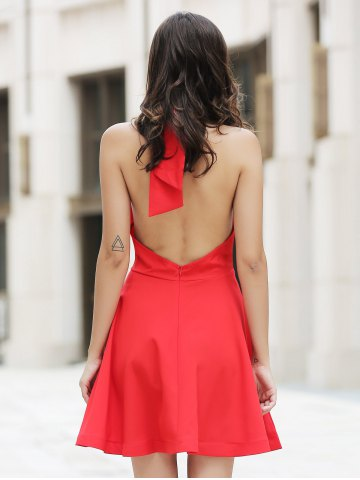 New Chic Women's High Neck Backless Red Sleeveless Dress