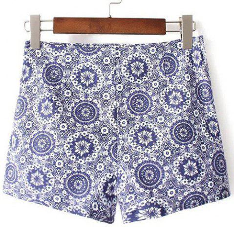 Chic Casual High-Waisted Printed Zippered Women's Shorts
