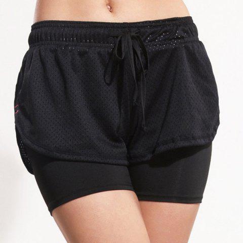 Hot Sporty Drawstring Black Gym Shorts For Women - L BLACK Mobile
