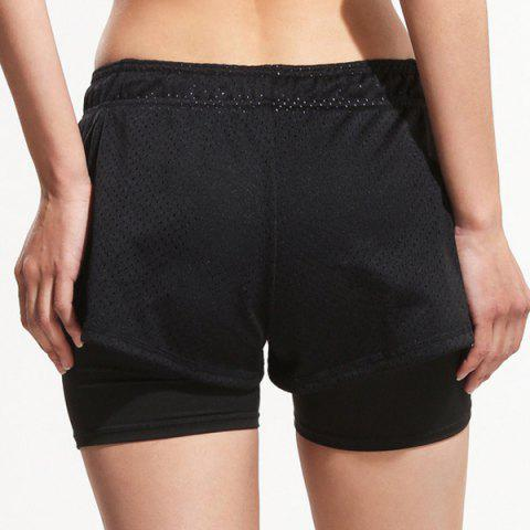 Outfits Sporty Drawstring Black Gym Shorts For Women - L BLACK Mobile