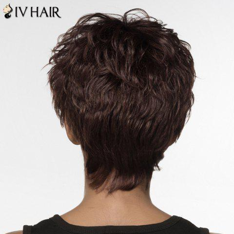 Unique Fluffy Curly Siv Hair Capless Elegant Short Real Natural Hair Wig For Women - DARK  BROWN  Mobile