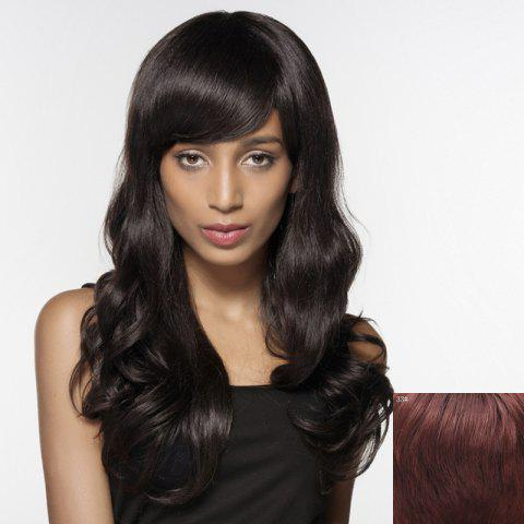 Latest Human Hair Shaggy Wave Side Bang Capless Long Siv Hair Wig For Women